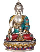 The Medicine Buddha (Inlay Statue) - Brass Statue with Inlay