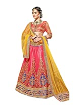 Manvaa Pitch And Yellow Net Embroidered Lehenga