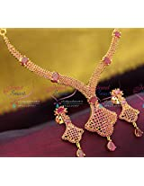 Delicate Thin Ruby Stones Gold Plated Necklace Set Simple Design