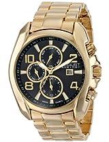 August Steiner Men's AS8109YG Swiss Quartz Multifunction Black Dial Gold-tone Bracelet Watch