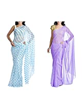 MemSahiba Women Semi-Chiffon Saree set of 2 (MS-1086-1047)