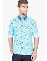 Aqua Blue Printed Slim Fit Casual Shirt Slub