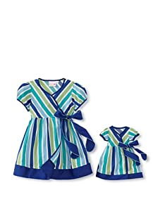Me & Dolly by 4EverPrincess Girl's Wrap Dress (Blue Stripe)