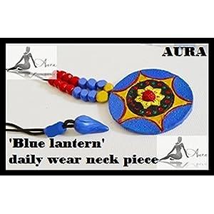 AUrA-EArTH Blue lantern Necklace