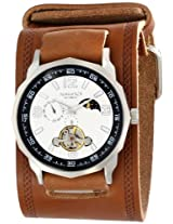 Nemesis Men's BKIN010S Mechanical White Dial with Brown Leather Cuff Band Watch