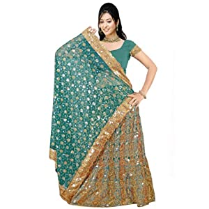 Teal Green Faux Georgette Lehenga Style Saree with Blouse