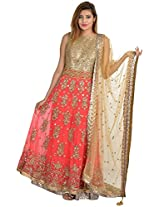 Aaina Women's Net Salwar Suit (aaina037, Peach, Medium)