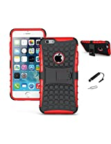 TCA Kick Stand Hard Dual Layer Armor Hybrid Bumper Back Case Cover For Apple iPhone 6 4.7 inch - Red With Mini Stylus & Eject Pin