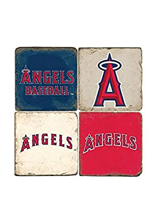 Studio Vertu Set of 4 Angels Logoed Tumbled Marble Coasters with Stand