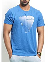Masculino Latino Casual Blue T-shirts Round Neck for Men MLT1001A-S
