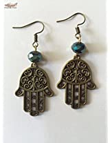 Under the Feather Charm Earrings- Bronze Hamsa Hastha