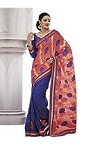 DesiButik's Elegant Pink Fancy Jacquard Saree