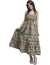 Light-Green Barbie Dress with Printed Paisleys All-Over - Pure Cotton