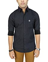 AA' Southbay Men's Black Geometry Printed 100% Premium Cotton Long Sleeve Party Casual Shirt