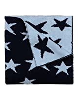 "Elegant Baby 100% Cotton Sweater Knit Blanket, Navy Star, 30"" X 40"""