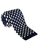 "Retreez Casual Houndstooth Shape Pattern Men's 2.4"" Skinny Knit Tie - Navy Blue with White"