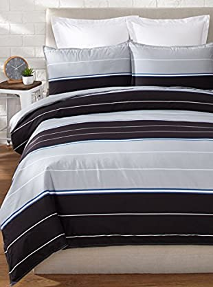 Nautica Danbury Stripe Duvet Set (Black)