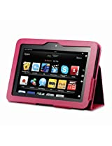 """Acase Kindle Fire HD Case - New Kindle Fire HD 7 Inch Tablet Cover / Kindle Fire HD 7"""" Tablet Premium PU Leather Case with Flip Stand (PINK)"""