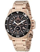 Invicta Men's 11289 Pro Diver Chronograph Black Carbon Fiber Dial 18k Rose Gold Ion-Plated Stainless Steel Watch