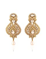 I Jewels Traditional Gold Plated Pearl Earrings for Women EM2165W (White)