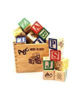 Alphabet & Number Non-Toxic Wooden ABCD and 1234 Building Blocks (27 Wood Blocks, Block Size 3cm Cube)