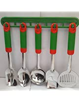 Royal Stainless Steel Serving Spoon Set, Pack of 6, Green
