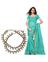Buy Kota Doria Cotton Saree and Get Meenakari Colorful Brass Payal Free