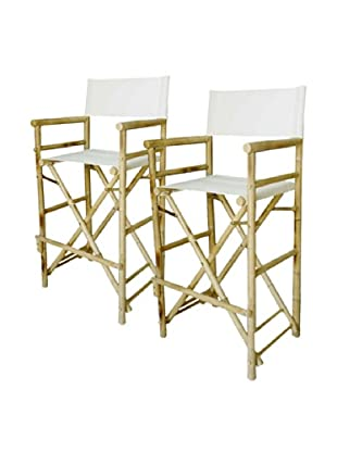 ZEW, Inc. Outdoor Bamboo High Director Chair, Set of 2,  White