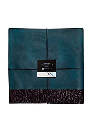 JESSEd home The Never Done Before Exotic Skin Tablecloth (Teal Snake/Navy Croc)