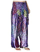 Famacart Women Printed Harem Pant Free Size Blue summer trouser