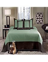 Hotel Style Modern Blue/Green Brown Reversible Bedspread Set Oversized King (to the floor)