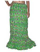 Famacart Women Long Skirt Green
