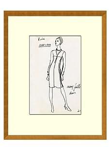 Vintage Women's Ricci Fashion Sketch c.1968