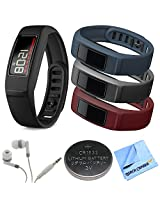 Garmin Vivofit 2 Bluetooth Fitness Band (Black)(010-01503-00) Burgundy/Slate/Navy Bundle includes vivofit 2 with Large and Small Band, Large Burgundy/Slate/Navy Bands, Headphones, Watch Battery and Microfiber Cloth