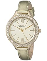 Caravelle New York  Crystal Analog Champagne Dial Women's Watch - 44L131