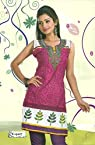 Way2hunt pretty pink and white cotton readymade embroidery kurtha with attachable sleaves.