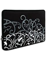 """Mygift Black And White Fleur Carrying Case Sleeve Fit Apple Macbook 13"""" And 13 - 14 Inch Notebook Laptop Computer"""