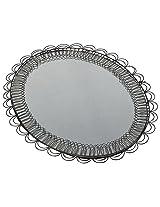NRS Zinc Egg Shaped Console Mirror (16 cm x 20 cm, Black)