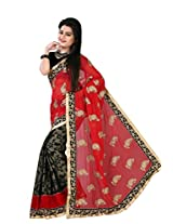 Astha Fashion Beautiful party ware Red and Black Emboidery work saree