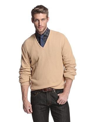 Oxxford Men's V-Neck Sweater (Light Brown)