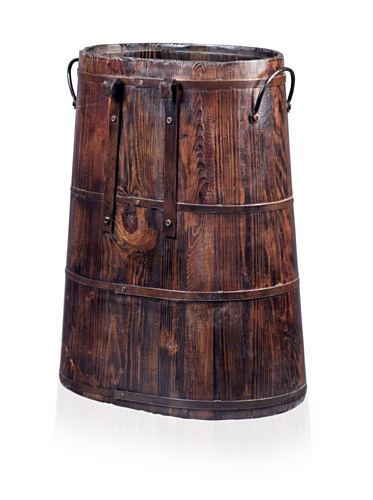 Antique Revival Chinese Barrel with Iron Rings (Natural Pine)