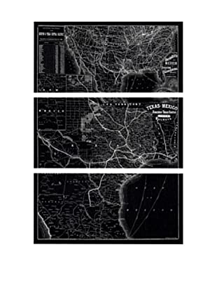 Oliver Gal Map of Texas Central Railways System 1885 Triptych Canvas Art