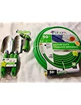 Bloom Garden Hose Sprayer and Gardening Tools Bundle Green