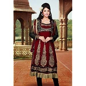 Red & Black Georgette with Sequins,Multi,Resham Work Unstitched Anarkali Salwar Kameez Suit