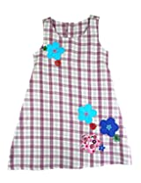 Ssmitn Kidswear Check Purple Frock For Girls