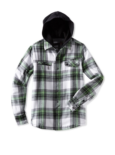 Micros Boy's Plaid Flannel Woven Shirt (Kelly Green)