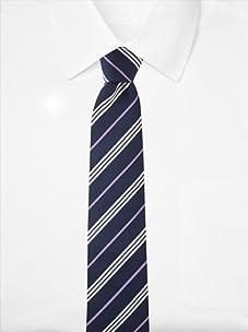 Aquascutum Men's Triple Stripe Silk Tie (Navy/Purple)