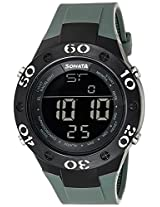 Sonata Superfibre Digital Grey Dial Men's Watch - 77035PP02