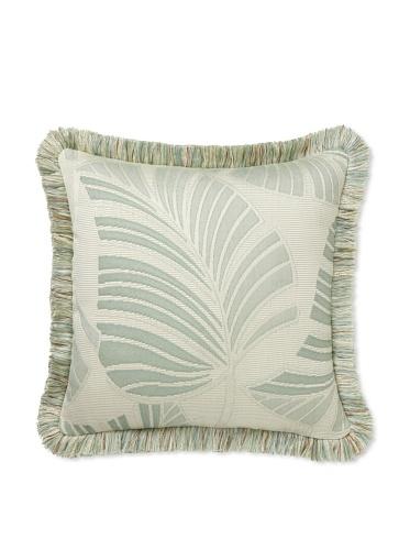 Elsa Blue Celadon Frond with Fringe Indoor/Outdoor Pillow, 20