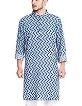 Zovi Cotton Blue Printed Kurta - Full Sleeves (10313306601_38)